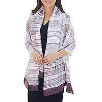 Rayon and silk blend shawl, 'Mangosteen Plaid Batik' - Artisan Crafted Balinese Silk Blend Shawl in Purple on White