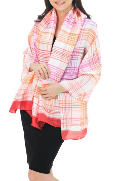 Rayon and silk blend batik shawl, 'Tropical Plaid' - Thai White Silk Blend Shawl with Pink and Orange Batik