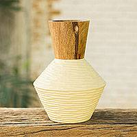 Mango wood decorative vase, 'Modern Thai' - Modern Mango Wood Vase Handcrafted in Thailand