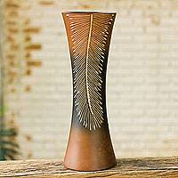 Mango wood decorative vase, 'Modern Fern' - Artisan Crafted Decorative Mango Wood Vase