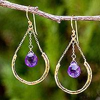 Gold plated amethyst dangle earrings, 'Smiling Moons' - Amethyst on Gold Plated Dangle Earrings from Thailand