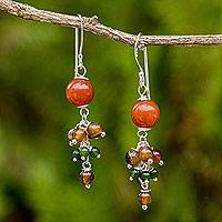 Agate and quartz dangle earrings, 'Jingle' - Thai Handcrafted Sterling Silver and Gemstone Earrings