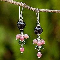 Rhodonite and garnet dangle earrings, 'Jingle' - Handcrafted Thai Gemstone Earrings