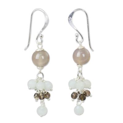 Chalcedony Gemstone Earrings with Amazonite and Smoky Quartz