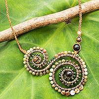 Multi-gemstone and leather pendant necklace, 'Tan Curlicue'
