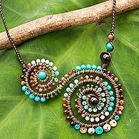 Multi-gemstone and leather pendant necklace, 'Brown Curlicue'
