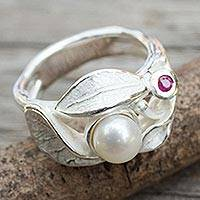 Cultured pearl and ruby cocktail ring, 'Frosted Foliage' - Contemporary Sterling Silver Pearl and Ruby Ring