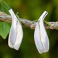 Sterling silver button earrings, 'Solitary Leaf' - Handcrafted Leaf Theme Silver 925 Earrings from Thailand