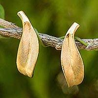 Gold vermeil button earrings, 'Solitary Leaf'