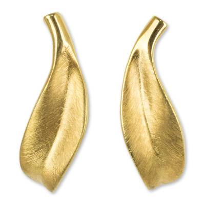 Gold vermeil button earrings, 'Solitary Leaf' - Artisan Crafted Gold Vermeil Earrings