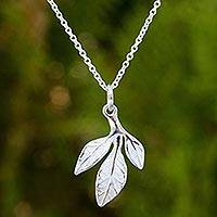 Sterling silver pendant necklace, 'Young Leaf' - Handcrafted Sterling Silver Modern Leaf Necklace