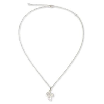 Handcrafted Sterling Silver Modern Leaf Necklace