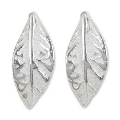 Sterling silver button earrings, 'Young Leaf' - Modern Handcrafted Sterling Silver Leaf Earrings