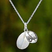 Sterling silver pendant necklace, 'Moonlit Leaves' - Thai Sterling Silver Double Leaf Pendant Necklace