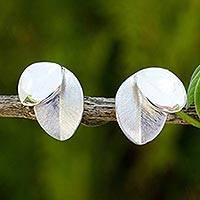Sterling silver button earrings, 'Moonlit Leaves'