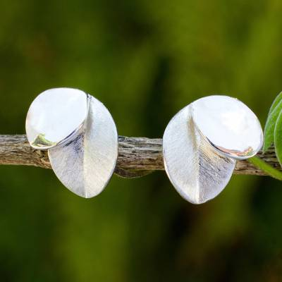 Sterling silver button earrings, 'Moonlit Leaves' - Sterling Silver Handcrafted Nature Inspired Earrings