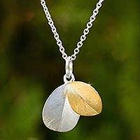 Gold vermeil and sterling silver pendant necklace, 'Sunlit Leaves'