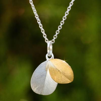Gold vermeil and sterling silver pendant necklace, 'Sunlit Leaves' - Leaf Theme 24k Gold Vermeil and Sterling Silver Necklace