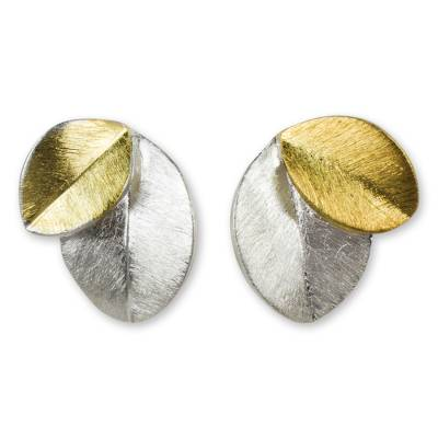 Gold vermeil and sterling silver button earrings, 'Sunlit Leaves' - 24k Gold Vermeil and Sterling Silver Earrings