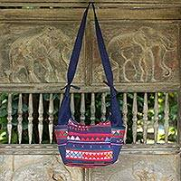 Cotton shoulder bag, 'Blue Hill Tribe Carnival' - Colorful Hill Tribe Applique Blue Cotton Shoulder Bag
