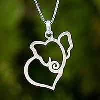 Sterling silver heart necklace, 'Elephant Heart'