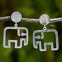 Sterling silver dangle earrings, 'Elephant Encounter' - Unique Than Brushed Sterling Silver Dangle Earrings