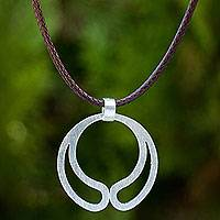 Sterling silver pendant necklace, 'Moon Embrace' - Thai Artisan Crafted Brushed Silver Pendant Necklace