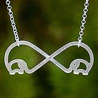 Sterling silver heart necklace, 'Infinity Elephant'