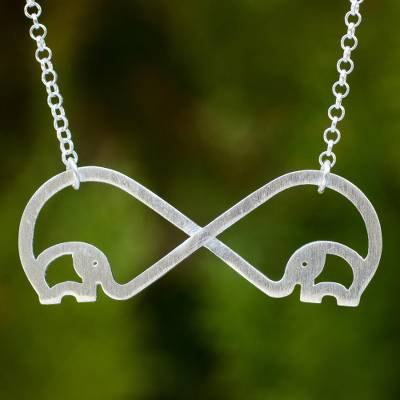 Sterling silver heart necklace, 'Infinity Elephant' - Brushed Sterling Silver Handcrafted Elephant Necklace