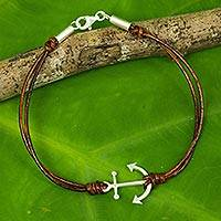 Leather and sterling silver bracelet, 'Anchor of Strength'