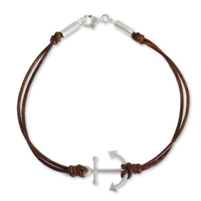 Leather and sterling silver bracelet, 'Anchor of Strength' - Fair Trade Brown Leather Bracelet with Silver Anchor