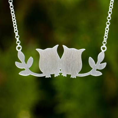 Sterling silver pendant necklace, 'Owls in Love' - Handcrafted Thai Silver Owl Theme Necklace