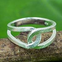 Sterling silver band ring, 'Eternity Knot' - Modern Thai Artisan Crafted Brushed Silver Ring