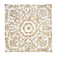 Reclaimed teakwood wall panel, 'Beloved White Blossoms' - Vintage White Reclaimed Teakwood White Floral Relief Panel