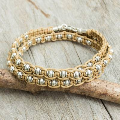 Men's leather and silver wrap bracelet, 'Impressions in Tan' - Leather Macrame Bracelet with Silver Beads for Men