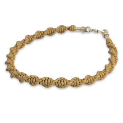 Men's leather bracelet 'Helix Weave in Tan' - Helix Macrame Bracelet Crafted with Tan Leather for Men