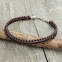 Men's leather macrame bracelet, 'Essence of Style in Brown'