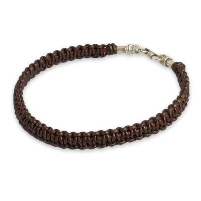 Men's leather macrame bracelet, 'Essence of Style in Brown' - Men's Bracelet Handmade in Brown Leather and Silver