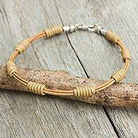 Men's leather cord bracelet, 'Simple Harmony' - Hand Crafted Tan Leather Cord Men's Bracelet