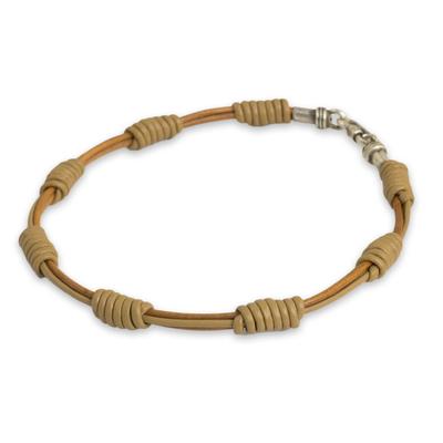 Men's leather cord bracelet, 'Simple Harmony' - Hand Crafted Tan Leather Cord Men's Bracelet