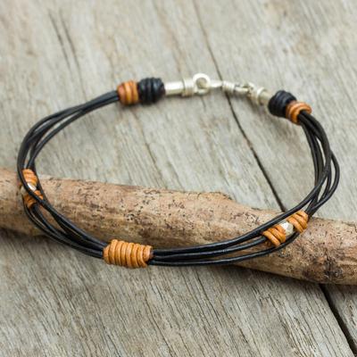 Men's leather and silver bracelet, 'Let's Go' - Hand Made Leather Bracelet with Sterling Silver for Men