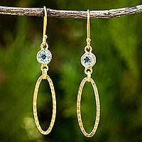 Gold vermeil blue topaz dangle earrings, 'Golden Offering' - 24k Gold Plate on Sterling Silver Earrings with Blue Topaz