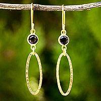 Gold vermeil smoky quartz dangle earrings, 'Golden Offering' - Fair Trade Dangle Earrings with Smoky Quartz and Gold Plate