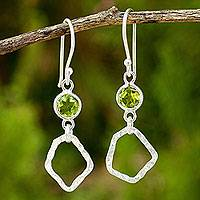 Peridot dangle earrings, 'Minimalist Abstract Textures' - Thailand Handcrafted Peridot and Hammered Silver Earrings