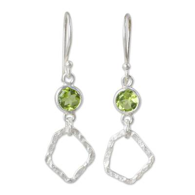 Thailand Handcrafted Peridot and Hammered Silver Earrings