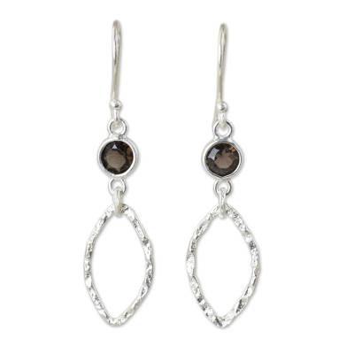 Smoky quartz dangle earrings, 'Minimalist Ellipse Textures' - Hand Crafted Sterling Silver and Smoky Quartz Earrings