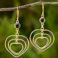 24k gold plated smoky quartz dangle earrings, 'Heart Trio' - 24k Gold Plated Handcrafted Smoky Quartz Heart Earrings