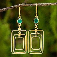 24k gold plated chalcedony dangle earrings, 'Rectangle Trio' - Handcrafted Chalcedony 24k Gold Plated Earrings