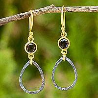Gold vermeil smoky quartz dangle earrings, 'Sense of Romance' - Gold Vermeil Earrings with Smoky Quartz and Sterling Silver