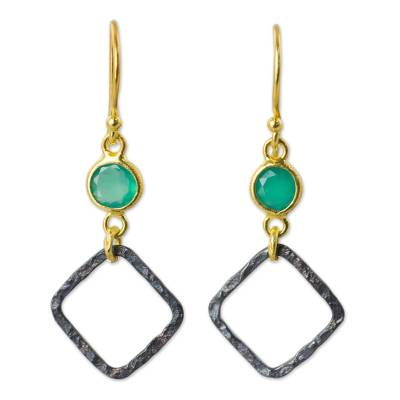 Gold Vermeil Earrings with Chalcedony and Sterling Silver